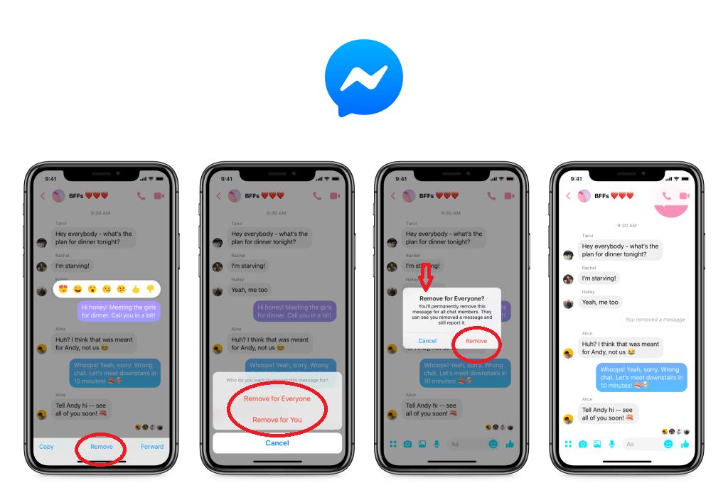 șterge mesajele deja trimise pe Facebook Messenger