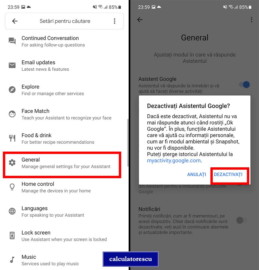 Dezactivare Google Assistant